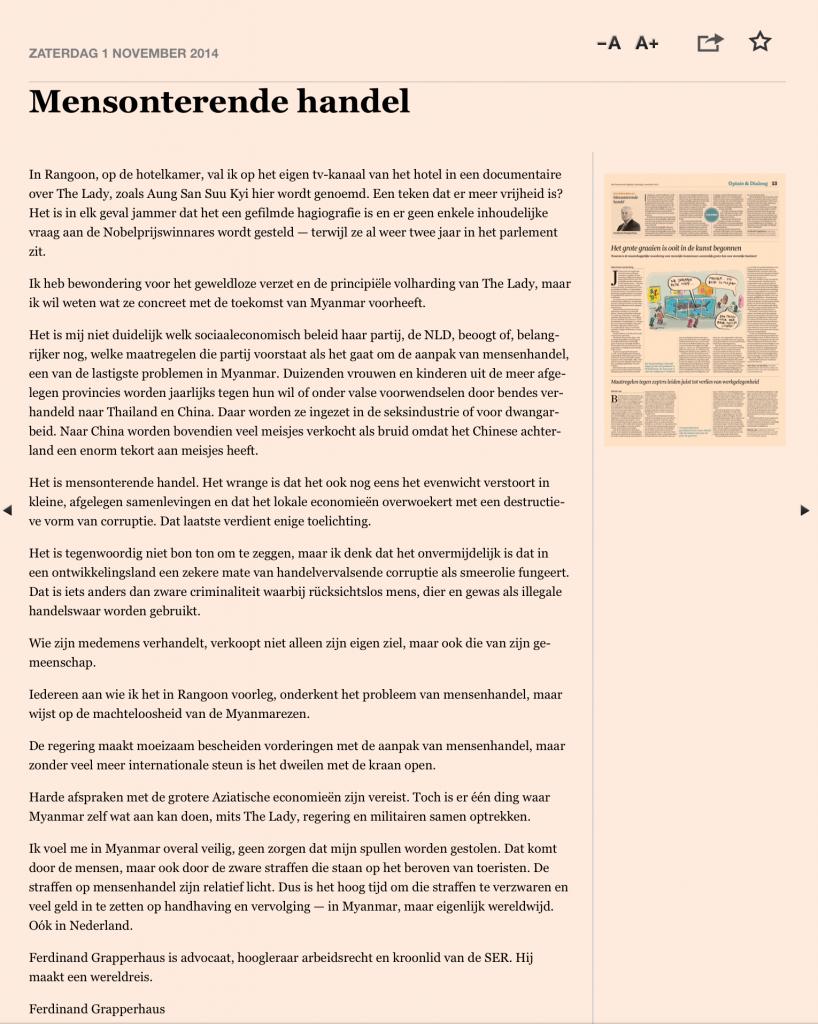 artikel Grapperhaus weekend FD 1 november 2014