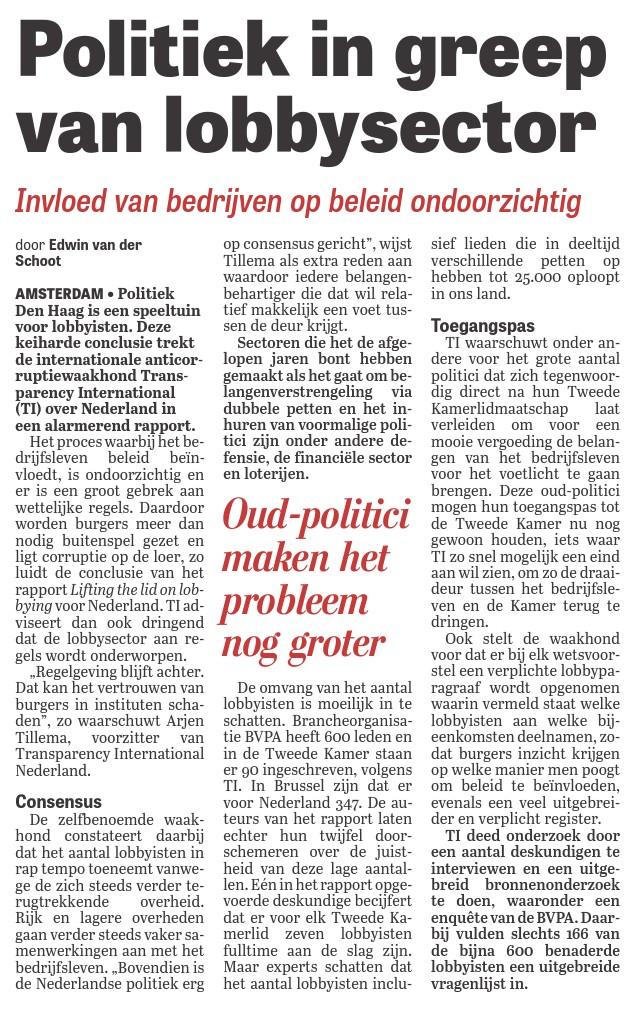 20150409_Telegraaf-Politiek-in-greep-van-lobbysector